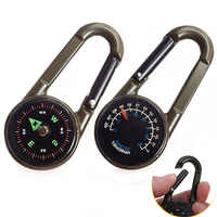 Multifonctionnel Mini boussole thermomètre porte-clés mousqueton Clip mousqueton outil de Camping en plein air randonnée marchandises équipement de tourisme