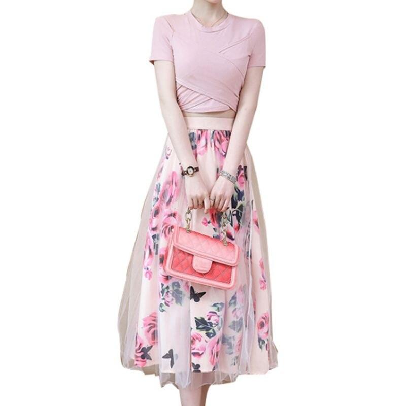 Women 2 Piece Set Sweet Cross Wrap Front Irregular Bowknot Crop Top T-Shirt Mesh Rose Floral Tulle Midi Long Skirt Suits