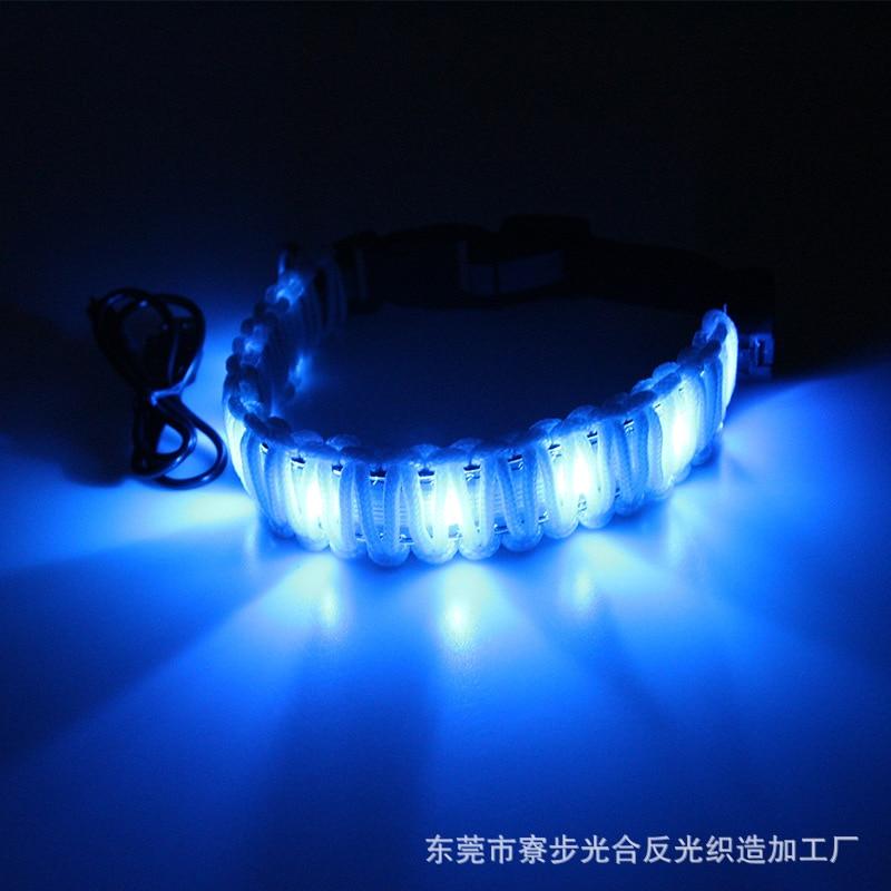Pet Supplies Handmade Knitted Belt USB Charging LED Luminous Dog Collar
