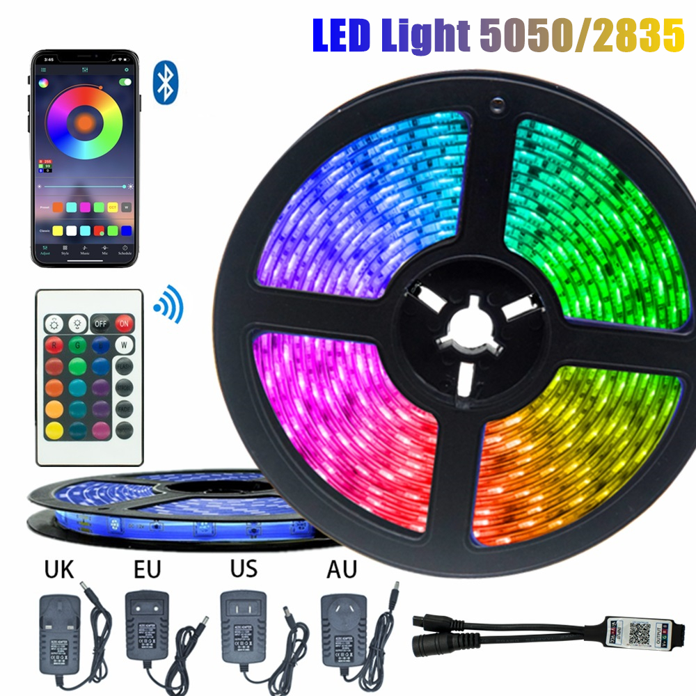 5M 10M LED Strip Light 5050 2835 Waterproof Bedroom Decoration Lamp Strips Flexible Ribbon String Bluetooth Controller Lighting