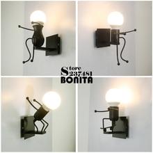 Iron little man small wall lights for home Cute Matchstick M