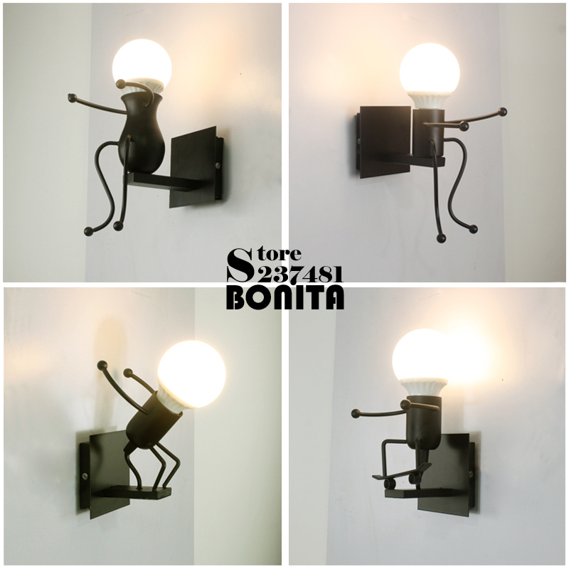 Iron Little Man Small Wall Lights For Home Cute Matchstick Men Children's Room Wall Lamps Robot Diving Skateboard Styling Sconce