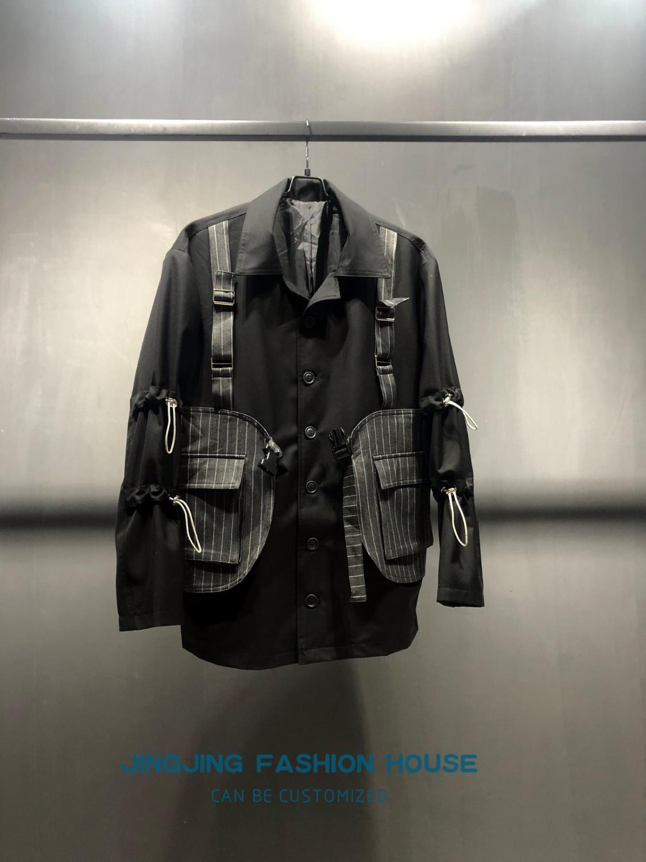 2020 модное платье стерео вырезка Смешанная вместе серая полоса черная 4 закрытые пряжки жилет куртка для мужчин и женщин