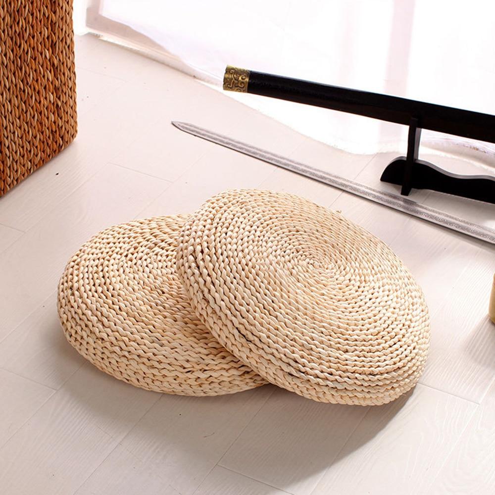 Natural Pouf Round Hand-made Weaving Natural Straw Cushion Meditation Pillow Soft Floor Yoga Chair Seat Mat Tatami Window Pad