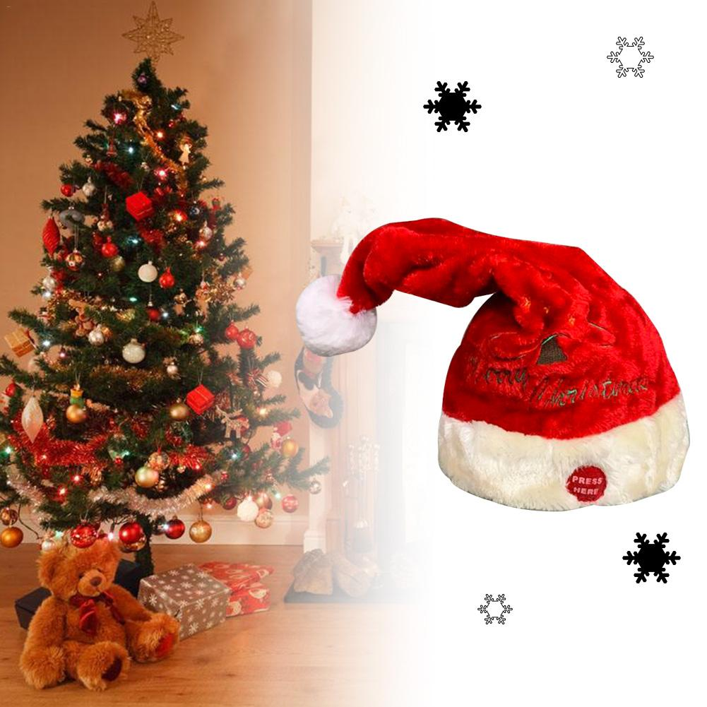 Electric Christmas Hat Red Velvet Christmas Music Swing Cap Party Decoration Christmas Gift Music Swing Santa Claus Hat