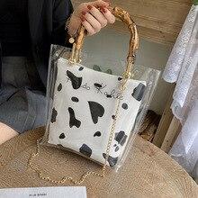 Plastic PVC Transparent Son Mother Bag 2021 Trendy Korean Fashion Small Fresh Girl Beautiful Chain Portable Tote Bag