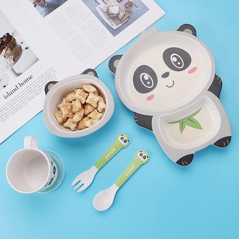 Dziecko bambusowe płytki talerz słodkie zwierzę zastawa stołowa na Lunch zastawa stołowa do kuchni talerz na owoce talerz dziecka miska tanie i dobre opinie CN (pochodzenie) Zestawy obiadowy