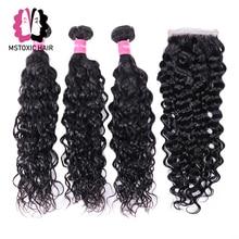 MSTOXIC Water Wave Bundles With Closure Human Hair Bundles With Closure Brazilian Hair Weave Bundles With Closure Remy Hair