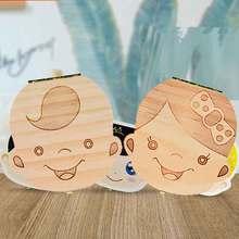 Коробка для зубов, португальский/Турецкий/голландский/Греческий/английский текстовый органайзер, коробка для хранения молочных зубов, деревянная коробка для выпавших детских зубов для мальчиков и девочек
