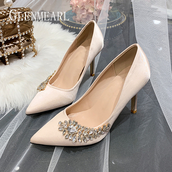 Luxury Women Wedding Shoes High Heels Rhinestone Silk Woman Pumps Pointed Toe Brand Party Shoes Heels Plus Size New Arrival 2020 venchale shallow slip on convenient 2018 new arrival high heels pointed toe woman plus size shoes genuine leather woman pumps