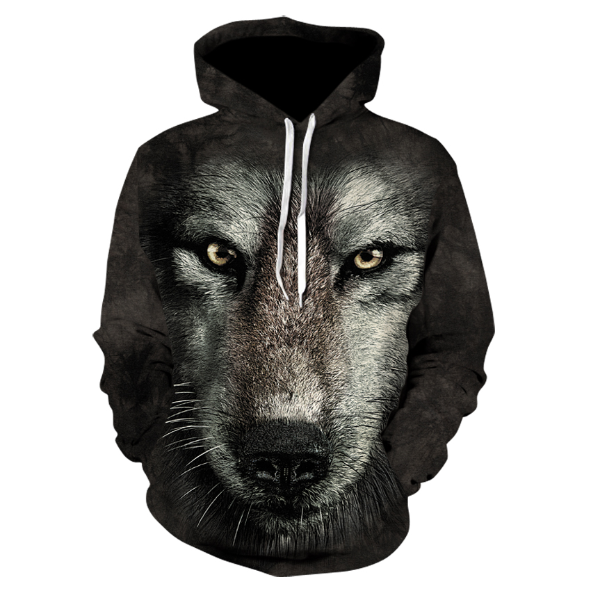 Fall Cool Casual Sweatshirt Spring Fashion Turtleneck Sweatshirt Workout Sweatshirt 3D Printed Black Animal Wolf Hoodie