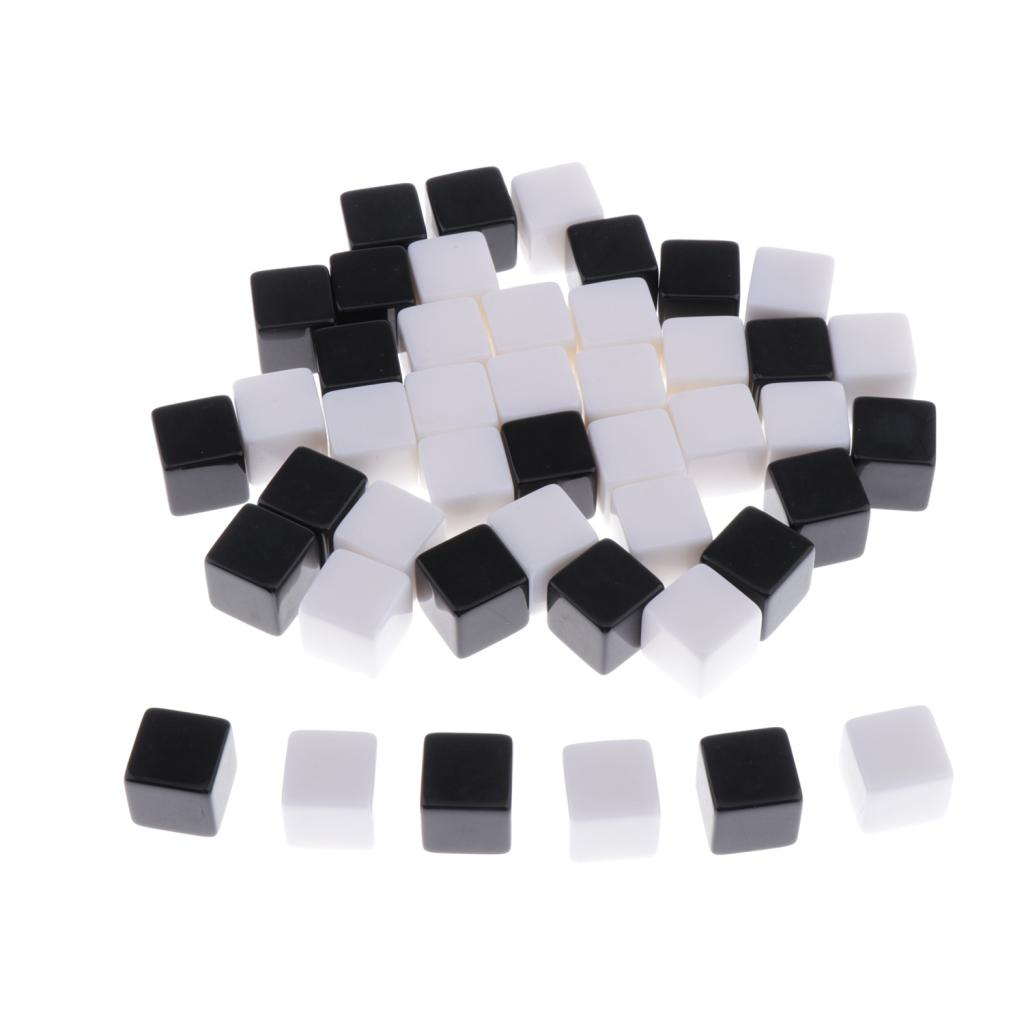 50pcs <font><b>16mm</b></font> <font><b>Blank</b></font> 6 Sided <font><b>Dice</b></font> for Wargames, Casualty Markers - White Black image