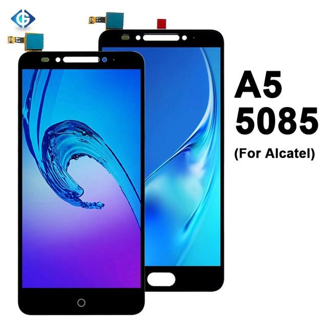 شاشة Lcd كاملة 5.2 بوصة لـ الكاتيل A5 LED 5085 5085Y 5085D تجميع شاشة LCD تعمل باللمس لشاشة الكاتيل 5085 قطع غيار الشاشة