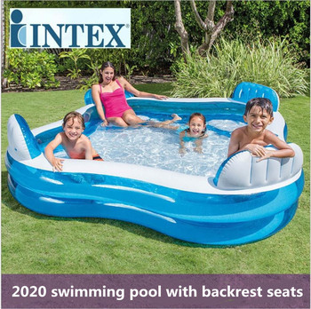 INTEX piscina inflavel adulto childrens home swimming pool transparent thickened baby family adult paddling bath With backrest