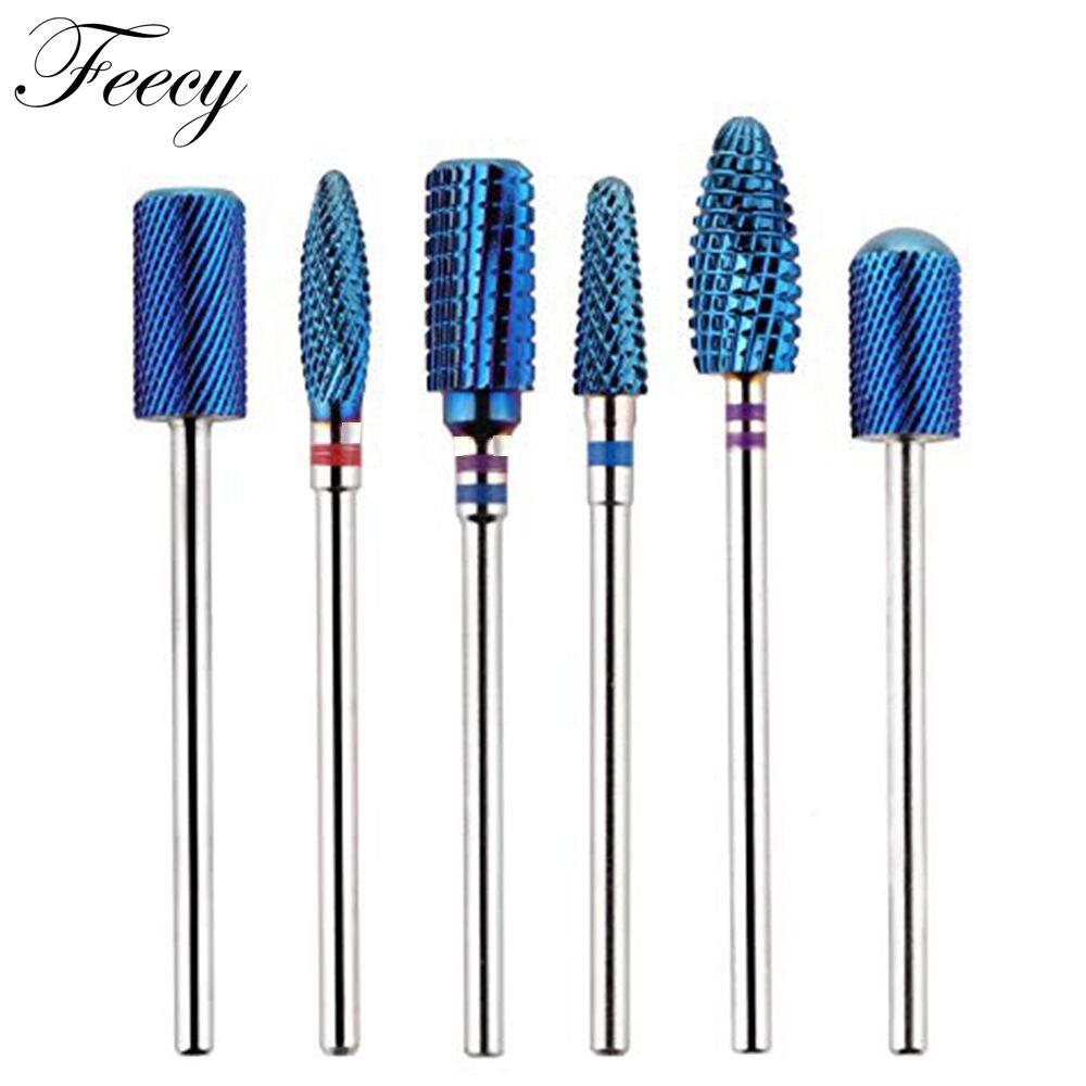 Milling Cutter Manicure Blue Tungsten Round Flame Nail Drill Bit Carbide Ceramic Drill Bits Electric Machine Nail Accessories