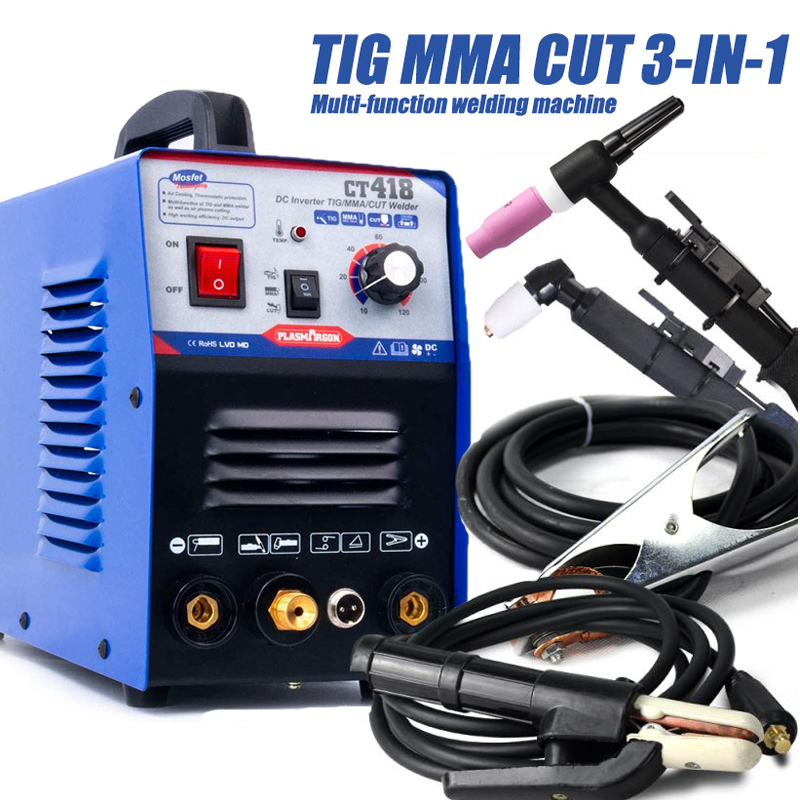 PlASMARGON 110/220V Dual Voltage 3 In 1 Multifunction Welding Machine TIG ARC Welder Plasma Cutting CT418 With Free Accessories