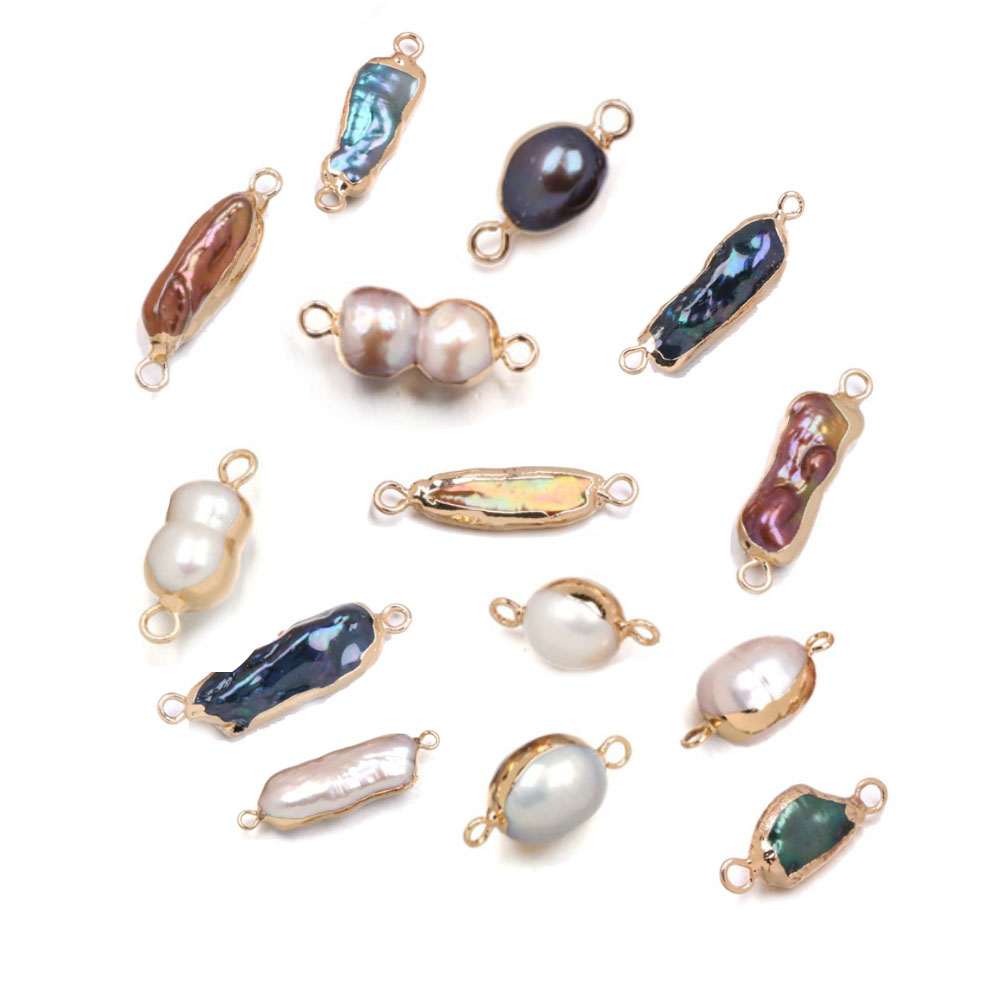 Natural Freshwater Pearl Connectors Irregular Double Hole Charms Pendants For Jewelry Making DIY Necklace Bracelet Accessories