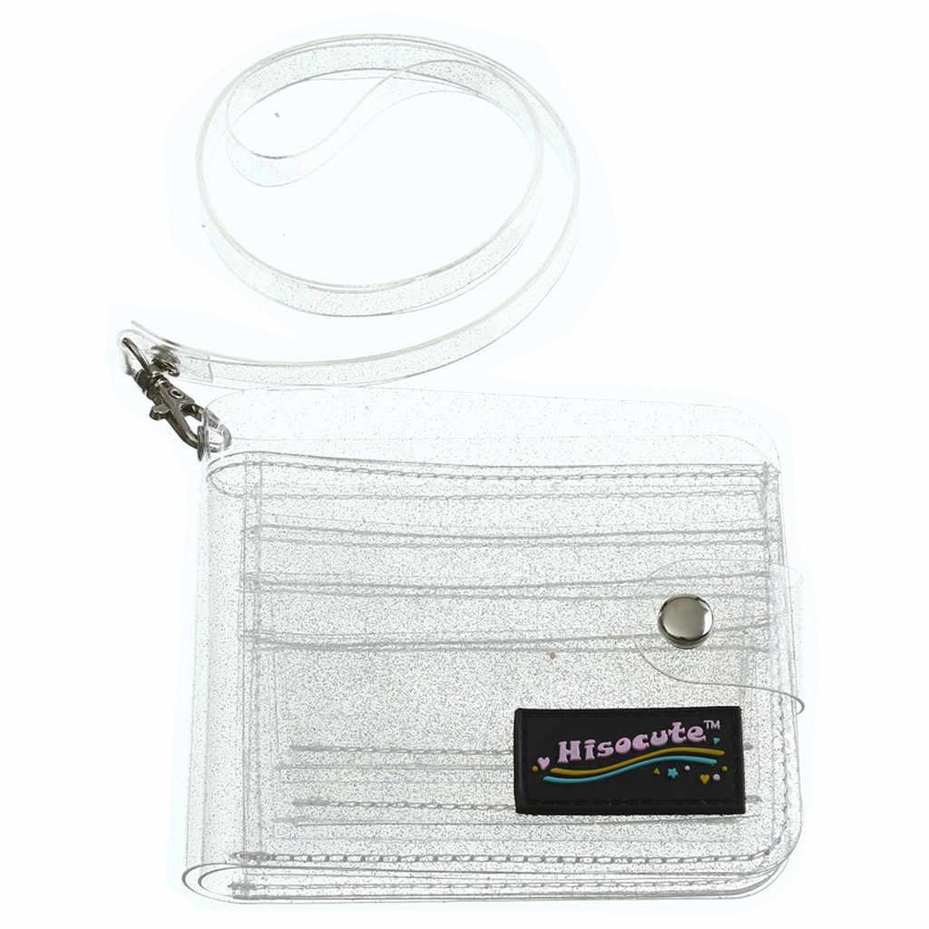 Transparan ID Pemegang Kartu PVC Lipat Pendek Dompet Fashion Wanita Gadis Glitter Bisnis Kartu Case Dompet dengan Tali Hot Sale