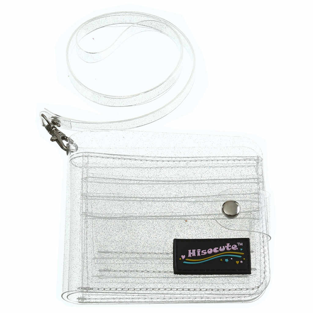Transparent ID Karte Halter PVC Klapp Kurze Brieftasche Mode Frauen Mädchen Glitter Visitenkarten Fall Geldbörse mit Lanyard Heißer Verkauf