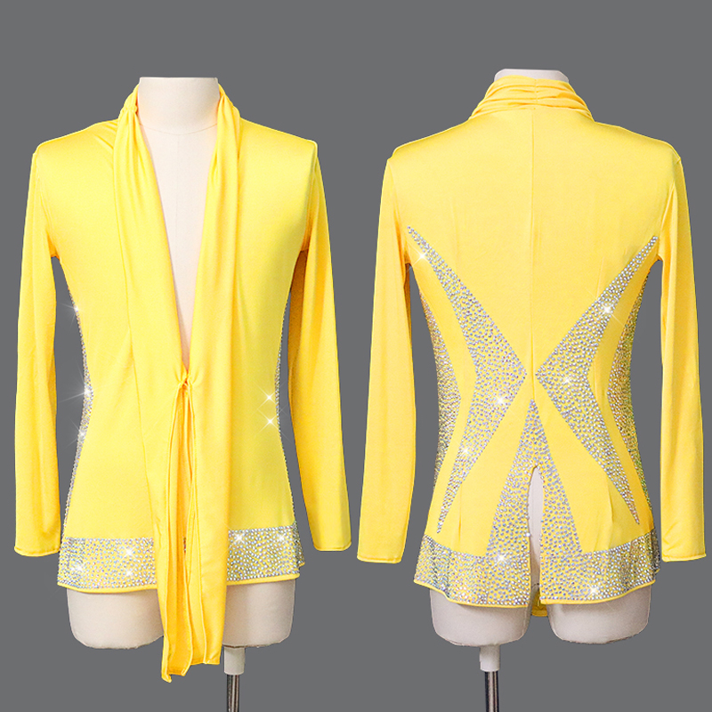 Latin Dance Top Male Dance Costume Yellow Top Adult Dance Long Sleeve Rhinestone New Ballroom Competitive Shirt Men Latin Top