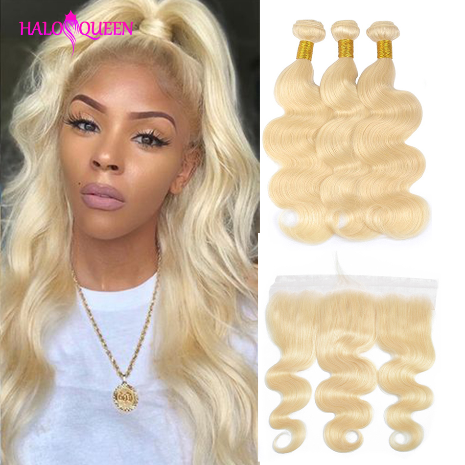 HALOQUEEN 613 Blonde Bundles With Frontal Brazilian Body Wave With Frontal Remy Human Hair Lace Frontal Closure With Bundles