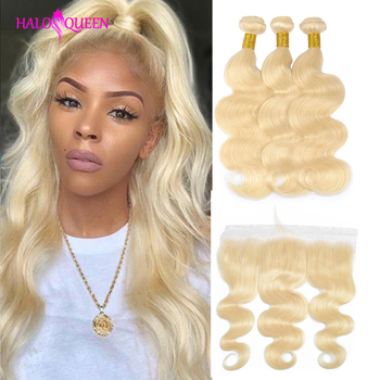 HALOQUEEN 613 Blonde Bundles With Frontal Brazilian Body Wave Remy Human Hair Lace Closure
