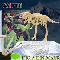 Saizhi 1Pcs Dinosaur Excavation Kit Archaeology Dig Up Fossil Skeleton Fun Kids Toy Excavate miniature dinosaur skeleton SZ3407