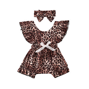 Pudcoco Baby Girl Leopard Clothing Newborn Sleeveless Romper Jumpsuit Headband Summer Outfit One-Pieces Clothes