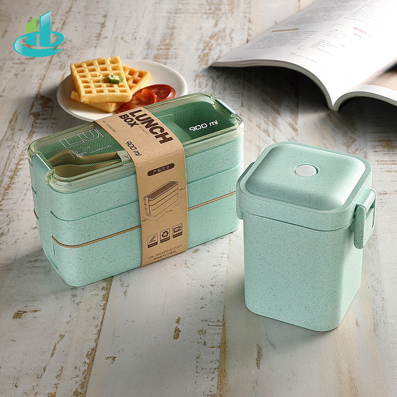 Image 2 - 900ml Portable Healthy Material Lunch Box 3 Layer Wheat Straw Bento Boxes Microwave Dinnerware Food Storage Container FoodboxLunch Boxes   -