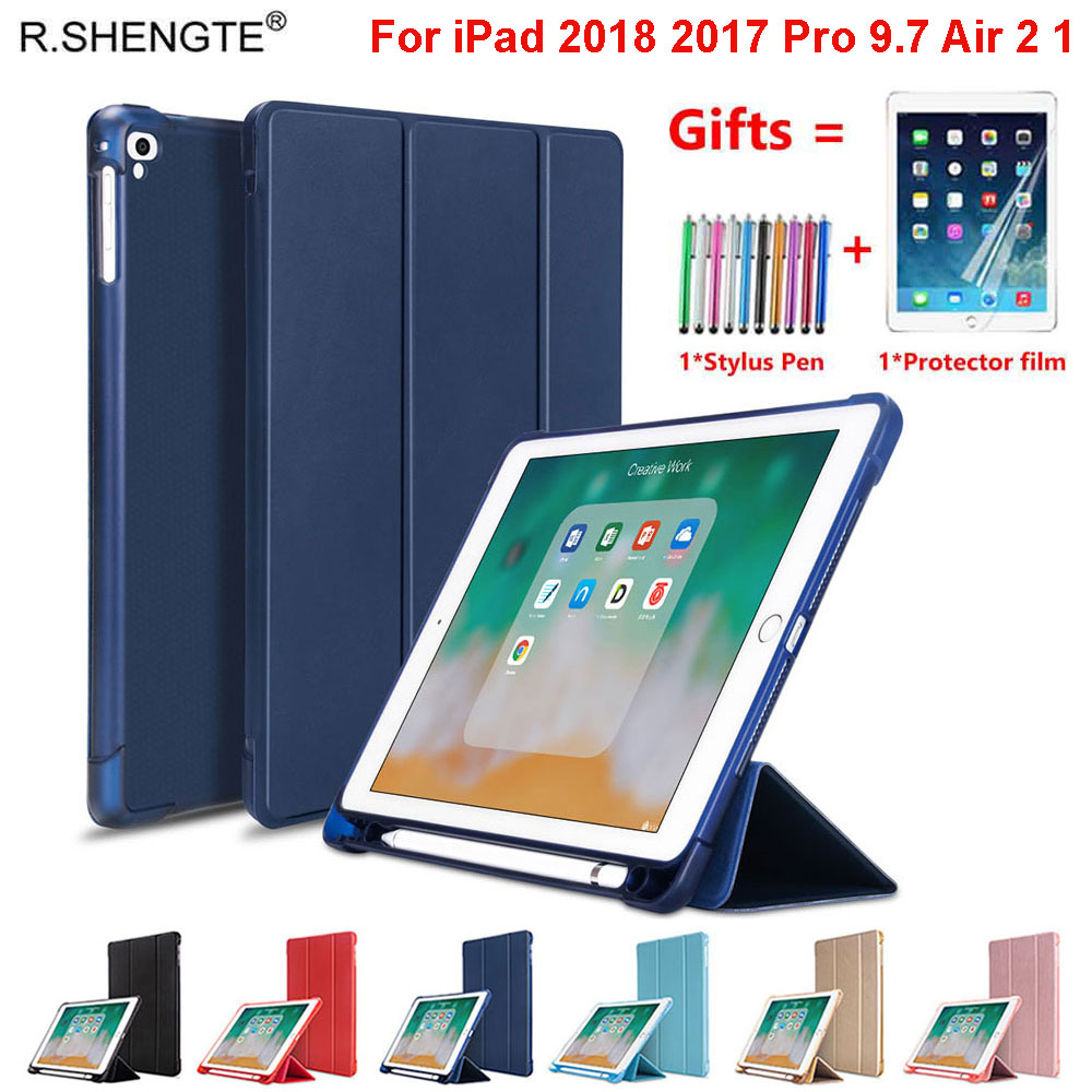 Smart Case For IPad 9.7 2018 2017 Pro 9.7 With Pencil Holder Soft Silicone Cover For IPad Air 2 / Air 1 Case Funda With Film+Pen