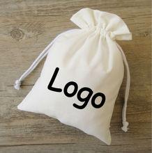 לבן טהור כותנה שרוך תיק שקית קטן/דקורטיבי/מוצר אריזת שקיות/מתנה/תכשיטי בד שקיות מותאם אישית לוגו הדפסת 50