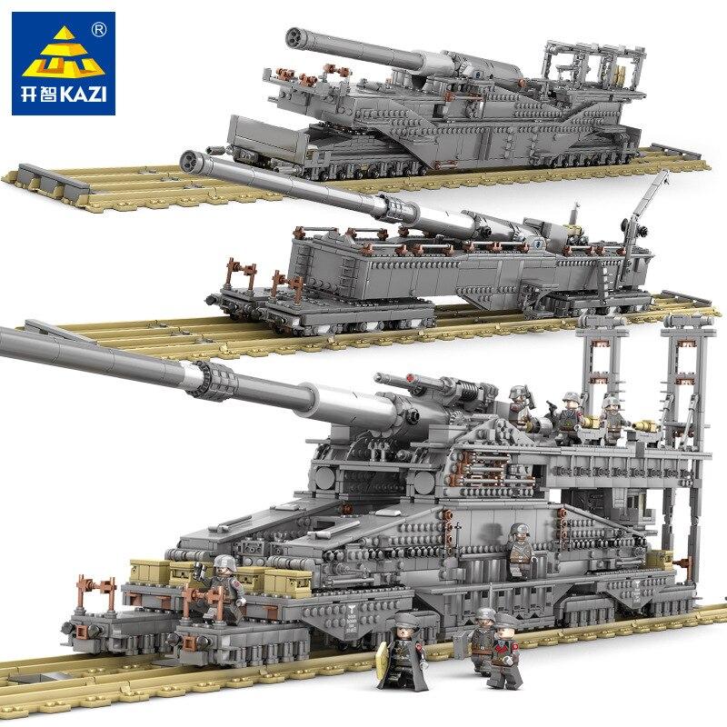 Original KAZI 3846PCS Military Battle Tank Heavy Gustav Train Track DIY Assembled Building Blocks Children Gift Toy 6-15 Years