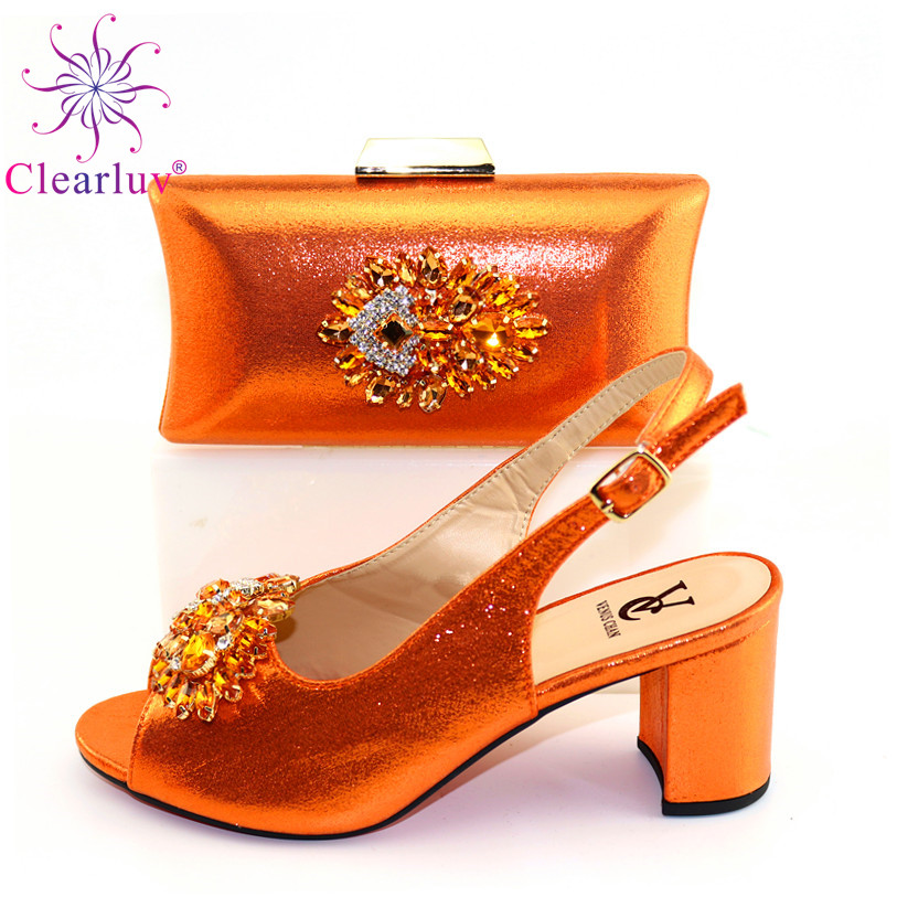2020 Summer New Arrivals Hot Selling Royal Wedding Clutch Bag Match African Women Shoes And Bag Matching Set In Orange Color