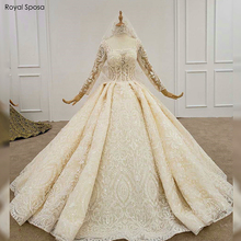 2020 Luxury full lace wedding dress no train 100% real work bridal dress buy dress get free veil