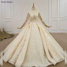 2020 럭셔리 풀 레이스 웨딩 드레스 no train 100% real work bridal dress 드레스 구입 무료 베일