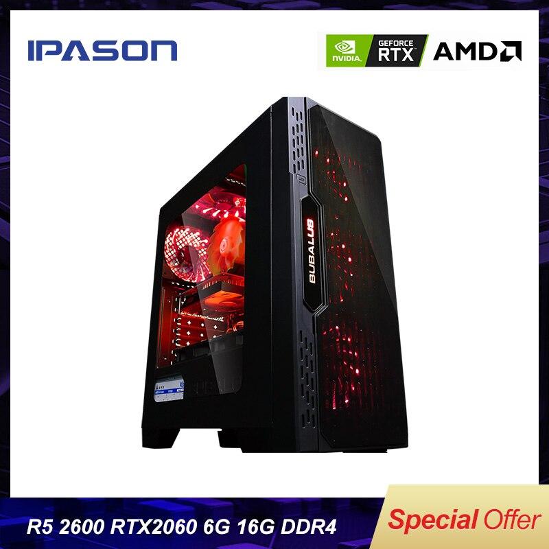 Лучший Игровой ПК Ipason AMD Ryzen5 2600/ B450/ 2060 6G/ DDR4 16G/ 240G SSD Настольный Компьютер