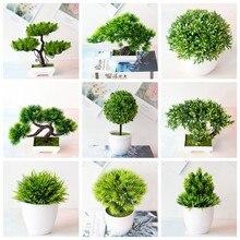 39 estilos verde plantas artificiais bonsai pequena árvore grama flor vaso bonsai natal dia das bruxas casamento ano novo decoração de casa