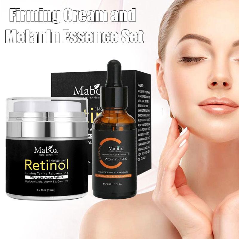 Hot MABOX 2.5% Retinol Whitening Face Cream + Vitamin C Serum Anti-aging Remove Wrinkle t6