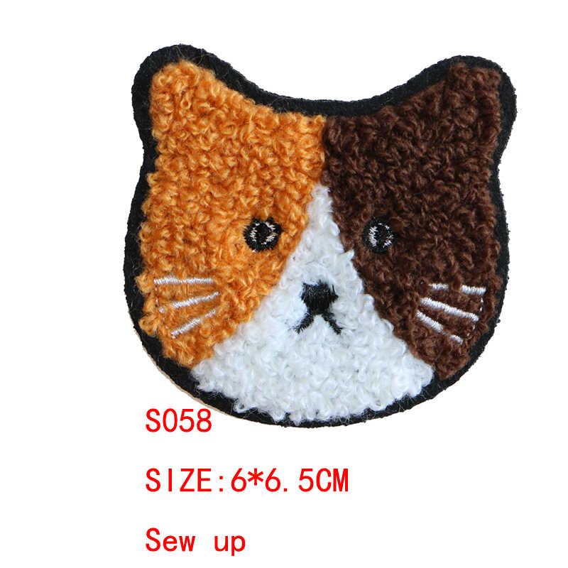 2 قطعة لطيف الدب الباندا القط أيقونة منشفة مطرزة أيقونة الحديد على بقع Stripes بها بنفسك المشارب الملابس خليط ملصقات شارات مخصصة