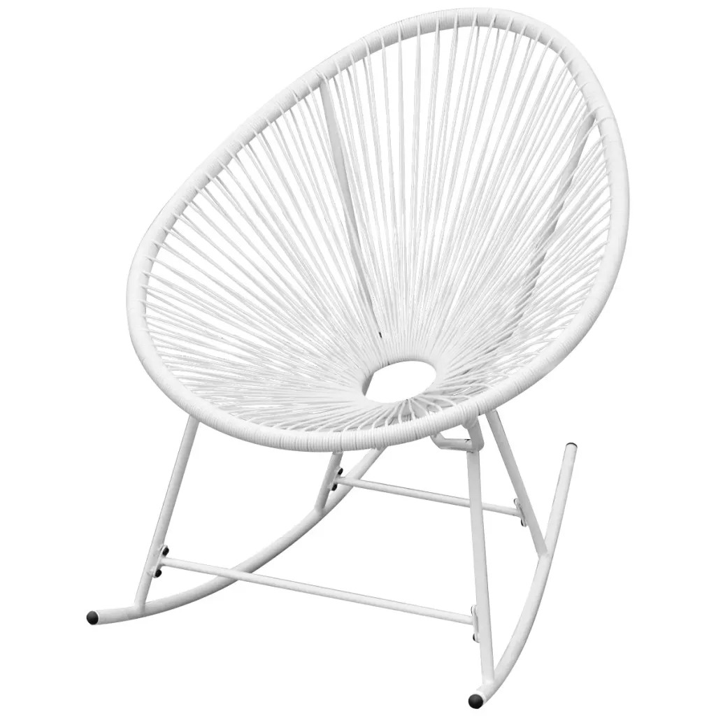 VidaXL Garden Rocking Chair Poly Rattan White 42074 PE Rattan + Powder-Coated Steel Frame 72.5 X 77 X 90 Cm (W X D X H) V3