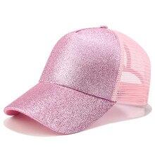 2020 Glitter Ponytail Baseball Cap Women Snapback Dad Hat Mesh Trucker Caps Messy Bun Summer Hat Female Adjustable Hip Hop Hats недорого