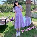 Короткое платье с пышными рукавами для женщин, воротник Питер Пэн, до середины икры, элегантное, однотонное, плиссированное, корейское, мило...