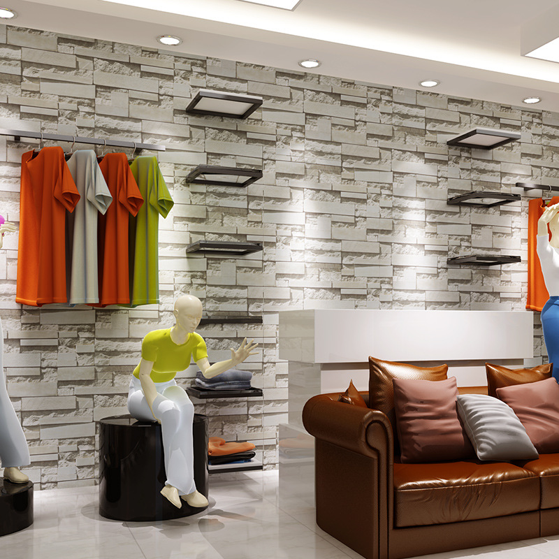 Retro Nostalgic 3D Faux Brick Pattern Bricks Brick Wallpaper Bar Restaurant Art Stone Red Brick Clothing Store Wallpaper