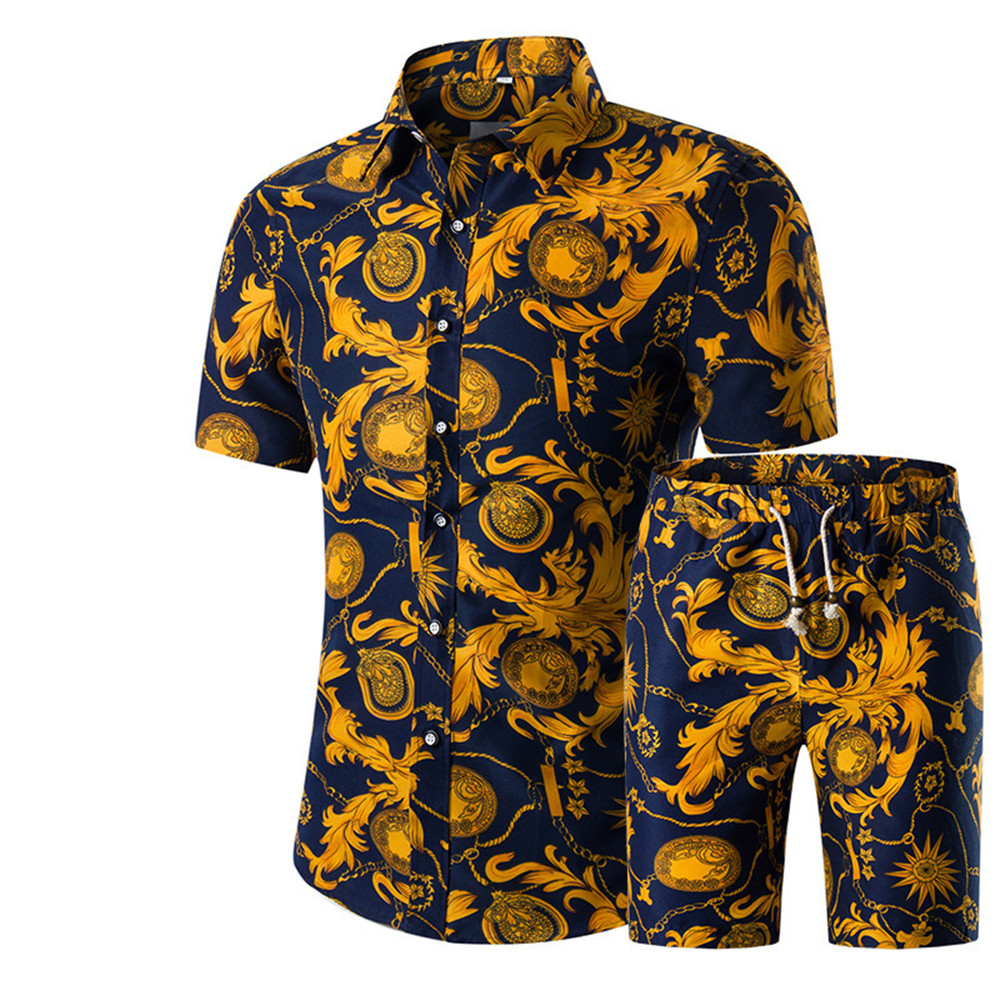 2020 New Arrival Beach Set Men Party Flower Elegant Shirt Sext Shorts Floral Boardshorts Holiday Male Short Sets Casual Suit