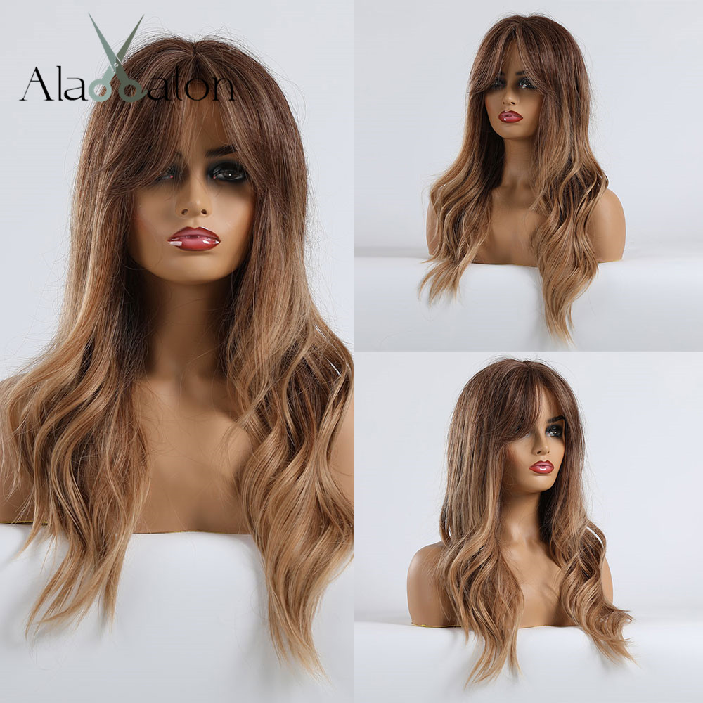 ALAN EATON Brown Blonde Wig Wavy Synthetic Wigs For Women Afro Long Ombre Wig Party Cosplay Hair Wig With Bangs Heat Resistant