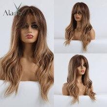 ALAN EATON długie faliste brązowe blond peruki syntetyczne Ombre dla kobiet afroamerykanin przebranie na karnawał peruki wysokotemperaturowe włókna