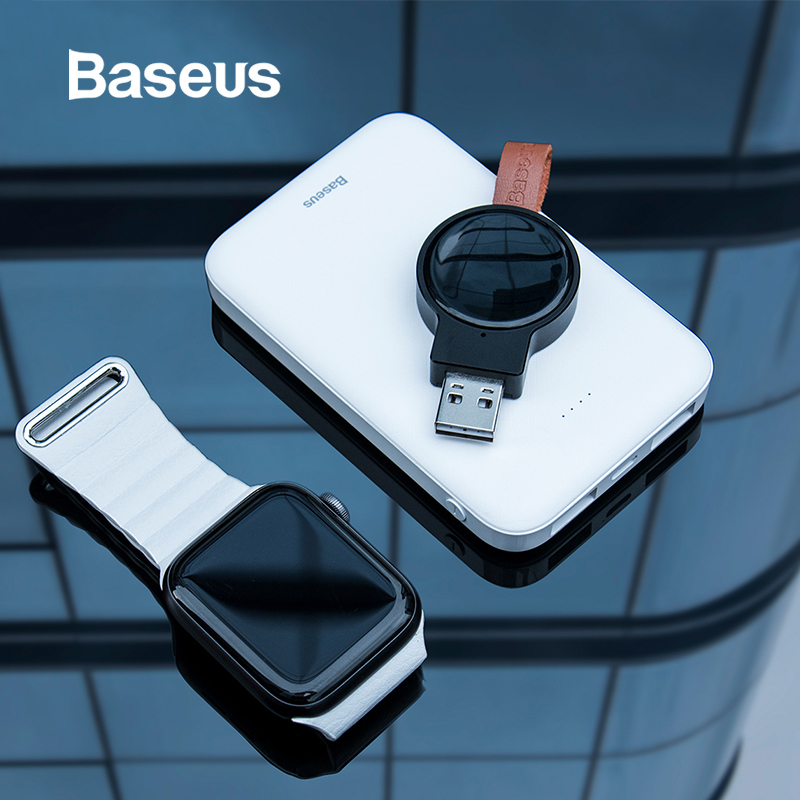 Baseus Portable Wireless Charger For Apple Watch 4/3/2/1 Series Qi Wireless Magnetic Charging Pad Fast Wireless USB Charger
