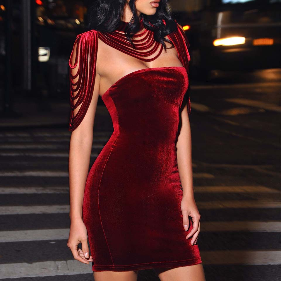 Image 2 - Women Strapless Velvet Bodycon Dress Evening Party New Year  Outfit High Neck Layered Tassel Backless Elegant Sexy Wine Red  DressDresses