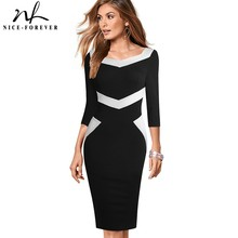 Nice-forever Fashion Contrast Color Patchwork Dresses Bodycon Business Office Bo