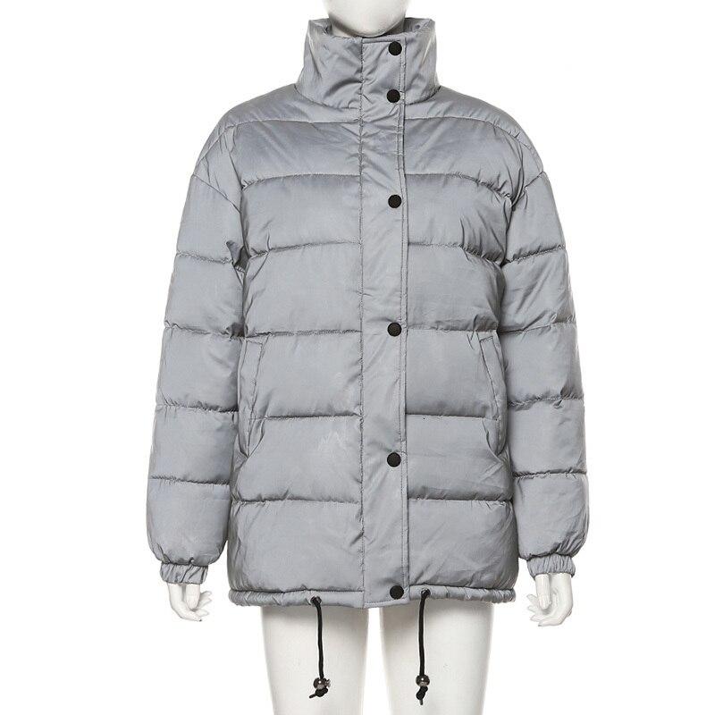 Haaa4eb1c305c4a2ba5c05707baa7fc28K Women Oversized Cotton Cropped Jacket Fashion Winter Thick Pullover Night Reflection Coat Ins Female Warm Loose Zipper Outwear